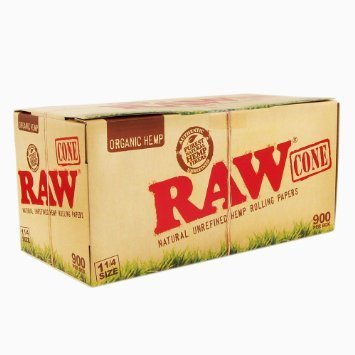 RAW Organic 1¼ Pure Hemp Pre-Rolled Cones With Filter (900 Pack) by Raw Threads