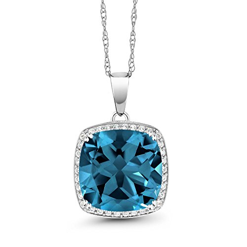 8.54 Ct Cushion London Blue Topaz White Diamond 10K White Gold Pendant - Topaz Diamond Pendant Necklace