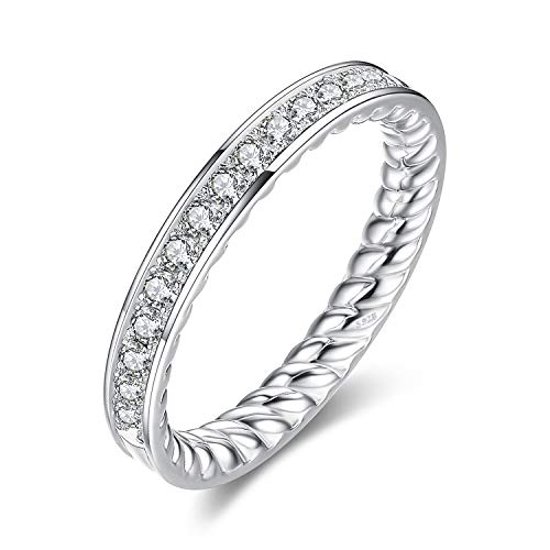 (JewelryPalace Engraved Twisted Rope CZ Pave 0.3ct Cubic Zirconia Half Eternity Ring Channel Set Wedding 925 Sterling Silver size 6)