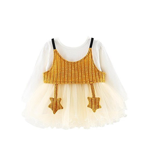 Dresses Skirt Princess Toddler Long Baby Tutu Yellow Girls Party Sleeve Weixinbuy Crewneck Clothes xgTqwwR