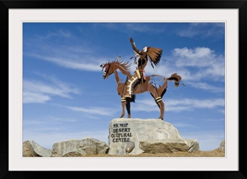 greatBIGcanvas Canada, BC, Osoyos, Nk'mip Desert Cultural Center, Statue of Indian on Horse by Rob Tilley Photographic Print with Black Frame, 36