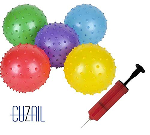CUZAIL Party Favor Glitter Knobby Bounce Ball - 12 Inflatable Balls with Pump - Assorted Colors