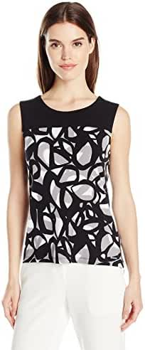 Calvin Klein Women's Matte Jersey Top with Side Zippers in Circle Print
