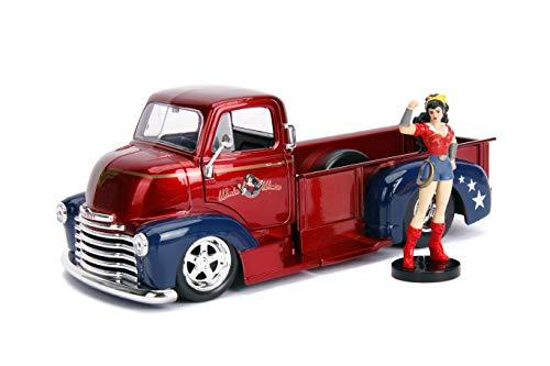 (Jada Toys 30453 DC Comics Bombshells Wonder Woman & 1952 Chevy Coe Pickup DIE-CAST Car, 1: 24 Scale Vehicle & 2.75