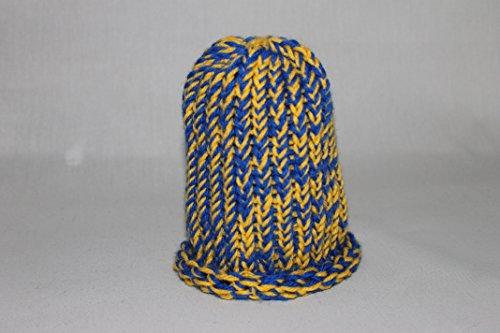 - Newborn Knit Hat Blue and Yellow Beanie Rolled Brim