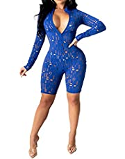 Uni Clau Women Two Piece See Through Tracksuits Short Sleeve Hollow-Out Crop Tops Skinny Short Pants Jumpsuits