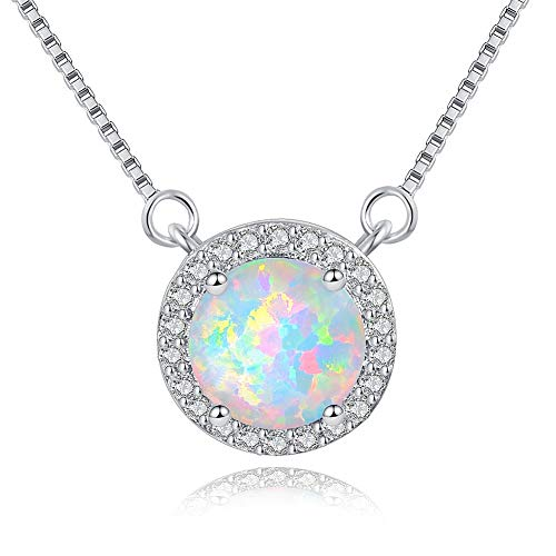 VOLUKA Round Opal Necklace, 18K White Gold Plated Necklace for Girls, Women Necklace Pendant, Cubic Zirconia Pendant Necklace October Birthstone Jewelry Gift