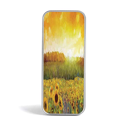 Pencil Tin Box,Sunflower Decor,Special Gifts for Children/Kids,Landscape Art with A Golden Sunflower Field and Distant Hill at Sunset Warm ()