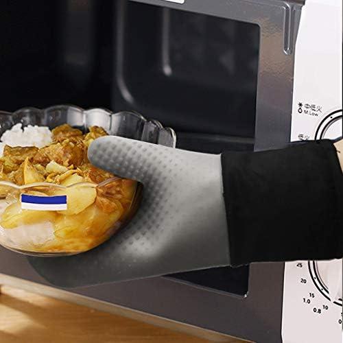 Xushiwanju Silicone Forno Mitts Set presine Hot Pad, Addensato Anti-Skid, for Barbecue, Cottura, Forno a microonde