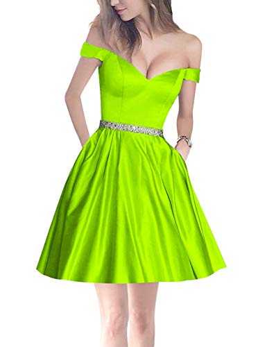 Women's Mini Party Bridal Beaded Off Pockets Lime Homecoming Green Bess Shoulder Prom f6qCIw5Cx