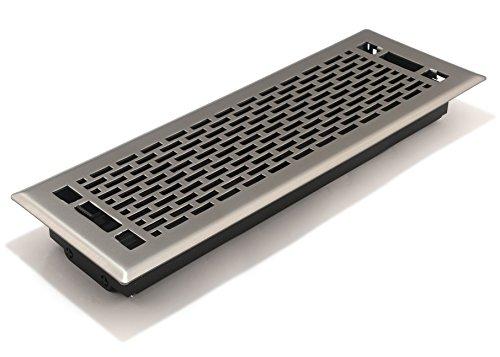Accord AMFRSNMA414 Manhattan Floor Register, 4-Inch x 14-Inch(Duct Opening Measurements), Satin Nickel (4x14 Floor Register Nickel)