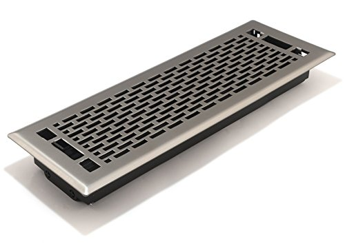 Accord AMFRSNMA414 Manhattan Floor Register, 4-Inch x 14-Inch(Duct Opening Measurements), Satin Nickel ()