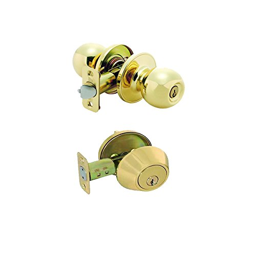 Grip Tight Tools Combo Entry Lock Set Door Knob & Deadbolt Keyed Alike Keyway: KW1 Keyway, Gold ED02 by Grip Tight Tools