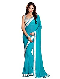 Mirchi Fashion Women's Lace Work Party Indian Saree with Unstitched Blouse Piece