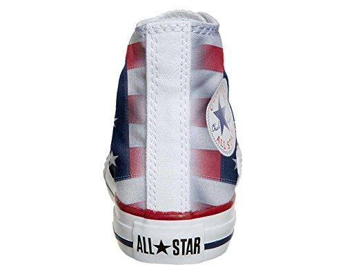 CONVERSE personalizzate All Star Sneaker unisex (Prodotto Artigianale) con Bandiera Americana (USA)