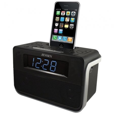 Jensen Docking Digital Music System/Alarm with Auto Time Set for iPod and iPhone (Black)