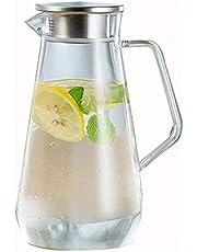 GSAGJsf Hogar garrafa de Cristal con Tapa de Acero Inoxidable, de Gran Capacidad de la Jarra de Cristal Goteo Libre de Agua fría/Caliente, té Helado y Jugo de Bebida