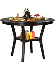 Giantex Round Dining Table, 42 Inch Wood Farmhouse Kitchen Table with Storage Shelf, 2-Tier Modern Vintage Dining Room Table with Anti-Slip Foot Pads, Kitchen & Dining Room Furniture Table