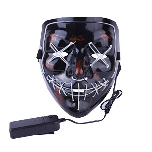XJ-AM Halloween Mask LED Light Up Funny Masks The Purge Election Year Great Festival Cosplay Costume Supplies Party Masks Glow in Dark (White) -