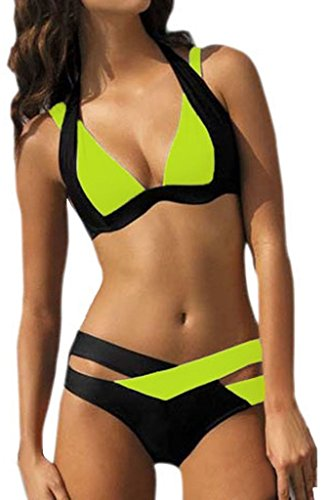 Tengfurich Tengfu Womens Crisscross Halter Color Block Plus Size Padded Bikini Set - Tracking And Click Usps Ship