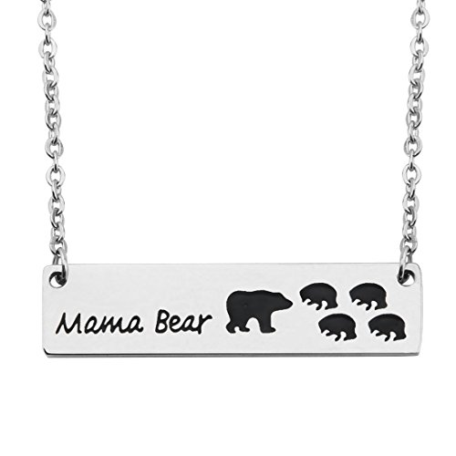 WUSUANED Sweet Mama and 4 Cubs Bear Bar Necklace Gift for Mom Grandma Wife (Stamp Bear 5)