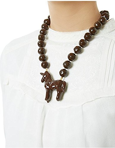 [Q pot lollipop chocolate unicorn necklace New From Japan] (Vintage Costume Jewelry Images)