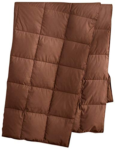 puredown Natural Down Packable Throw Sport Blanket for Indoor Home and Outdoor use Peach Skin Fabric for Downproof Chocolate 50