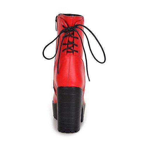 Chunky Damene 1to9 Imiterte Hæler Bandasje Røde Plattform Lærstøvler fFxqEn