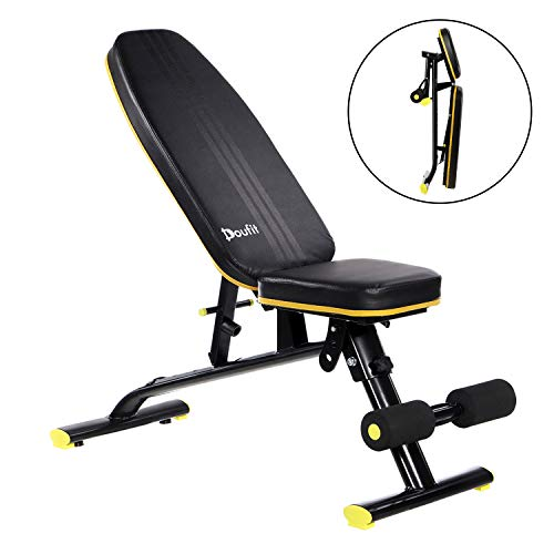 Doufit Adjustable Weight Bench, WB-01 Foldable Exercise Bench for Home Gym, Multi-Purpose Workout Incline Bench (Capacity 310 Lbs)