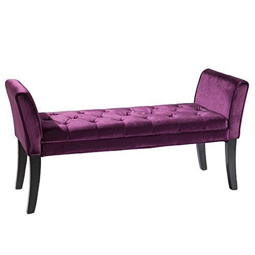 Armen Living LC0845BEPU Chatham Bench in Purple Velvet and Black Wood Finish
