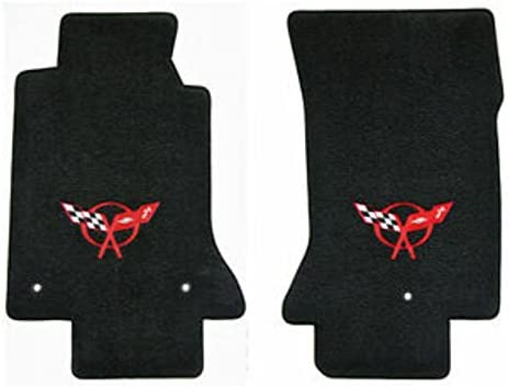 Fits 1997-2004 C5 Corvette Classic Loop Black Floor Mats Set Crossed Flags Logo in Red