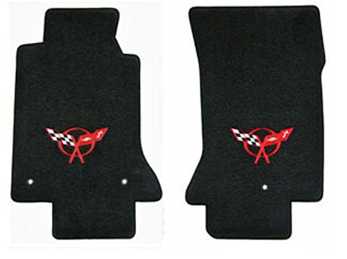 (Fits 1997-2004 C5 Corvette Classic Loop Black Floor Mats Set Crossed Flags Logo in Red)