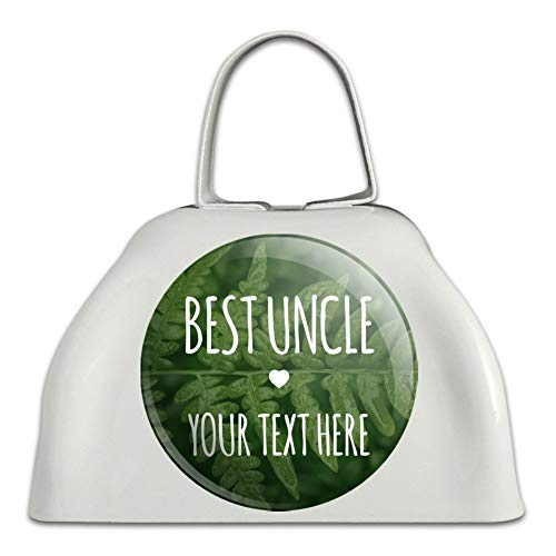 Personalized Custom 1 Line Best Uncle Fern Leaves White Metal Cowbell Cow Bell ()