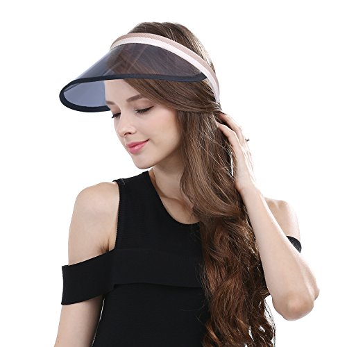 872f6ad947f Summer Sports Cap Black UV Protection Plastic Sun Shield Visor Backless Sun  Hat