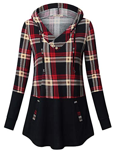 Bebonnie Women's Hoodies Pullover Sweatshirt Long Sleeve V Neck Plaid Splicing Lightweight Tunic Top with Pocket (XX-Large, Black Red)