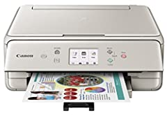 Need a versatile, quality printer that will fit right into a tight space? then the compact Canon PIXMA TS6020 wireless inkjet all-in-one printer fits the bill. It uses a five-ink system to print detailed photos and documents, sports fast outp...