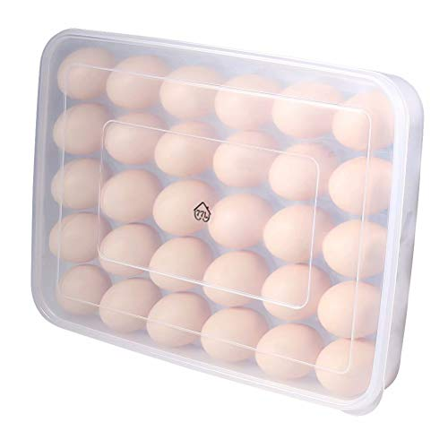 77L Egg Holder, Plastic Portable Egg Holder for Refrigerator, 30 Egg Container with Lid - Egg Tray for Protect and Keep Fresh, Clear Stackable Large Egg Case