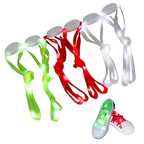 Novelty Place |3 Pairs| LED Light Up Shoelaces with 3 Modes for Party, Dancing, Running & DIY - 3 Pairs (Green, Red & White)]()