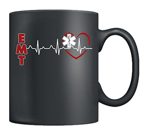 - EMT Mug Coffee - EMT Heartbeat Mug Family, EMT Cup Coffee Ceramic For Men & Women, Best Gifts For EMT (Black)