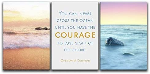 Professional Creation, Fascinating Craft, 3 Panel Seascape of Waves on The Seashore with Inspirational Quotes x 3 Panels
