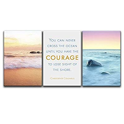3 Panel Seascape of Waves on The Seashore with Inspirational Quotes Gallery 16 x24 x 3 Panels