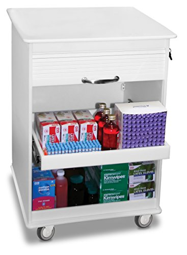 TrippNT 50591 White Polyethylene 2 Foot Maui Lab Island Cart, Lockable, 24