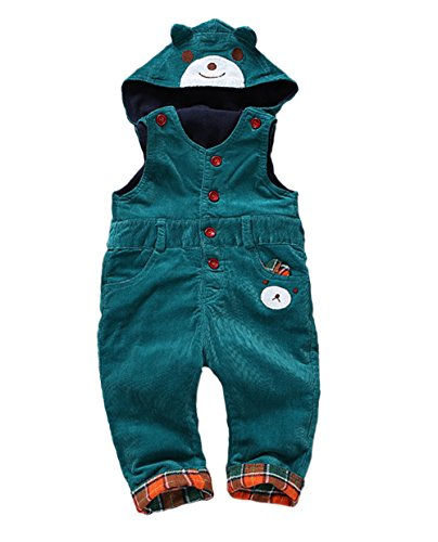 Kidscool Baby Winter Corduroy Adjustable Soft Fleece Bear Hooded Overall (Corduroy Girls Pants)
