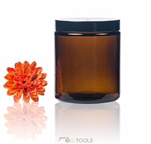 Got Oils?® 8 Oz Amber Glass Jar with Black Cap (Qty of 1)