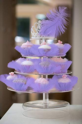 - Deluxe Wedding Birthday Girls Party Events Cake Tutu Decorations Pink White Black Purple Rosy (Cupcake Tutu, Purple)