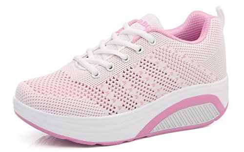 Lightweight Up Platform Outdoor Wedge Hishoes Casual Trainers Shoes Comfort Size Slip Lace Summer Sneakers Sports Pink On Gym Running Mesh qxzzfEgwX