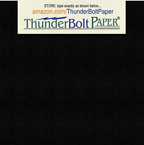 125 Black Linen 80# Cover Paper Sheets - 4