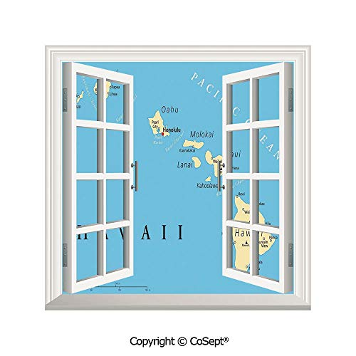 SCOXIXI Removable Wall Sticker,Map of Hawaii Islands with Capital Honolulu Borders Important Cities and Volcanoes,Window Sticker Can Decorate A Room(26.65x20 inch)