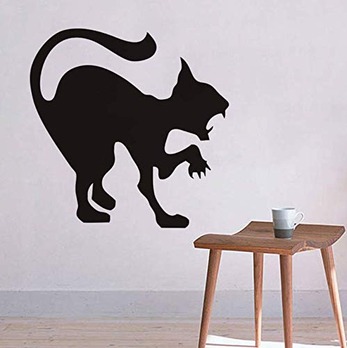 (pbldb Scary Black Cat Wall Sticker Halloween Decoration Hissing Cat Vinyl Decal Wall Art, Angry Cat Hallowmas Home Decor Accessories59X59)