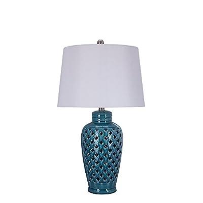 Fangio Lighting 8827 Fangio Lightings 26 Inch Blue Ceramic Table Lamp with Lattice Design